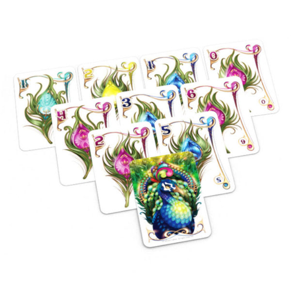 Enchanted Plumes card game Calliope Games peacock plume