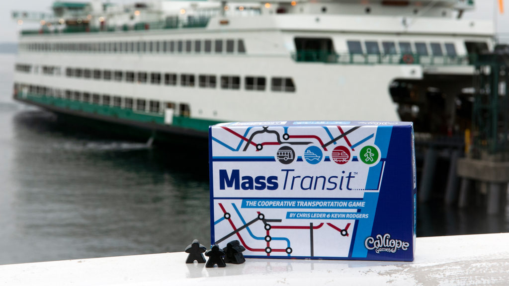 Mass Transit box and meeples at a ferry port