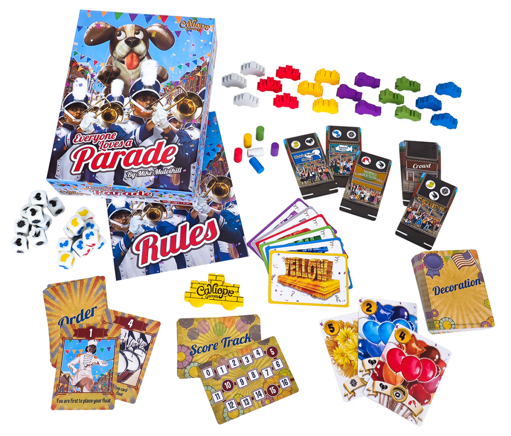 Everyone Loves a Parade game box and components