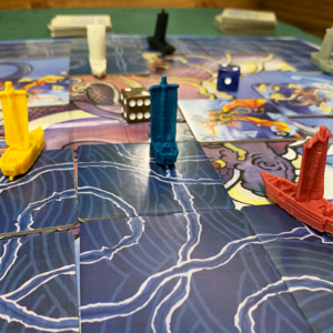 three Tsuro of the Seas ships face off against three other ships
