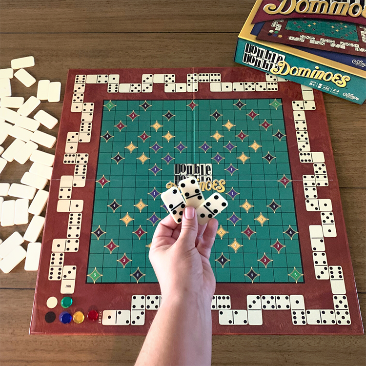 game setup for Double Double Dominoes