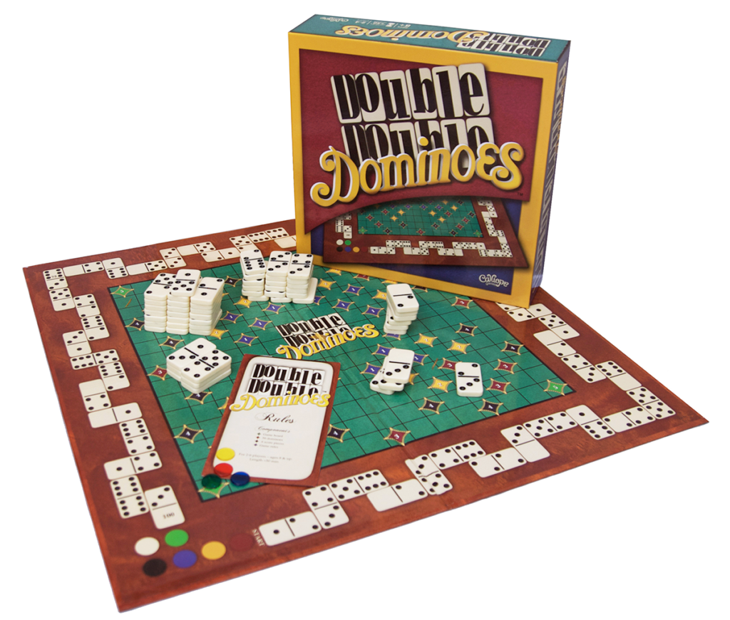 Double Double Dominoes box and game components