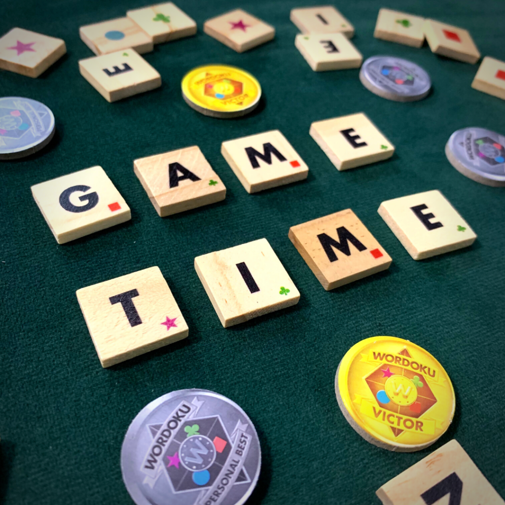 Game Time spelled out in Wordoku Tiles