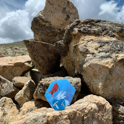Dicey Peaks Flag on Rocks