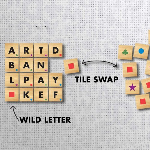 Wordoku Gameplay showing tile swaps and wild letters